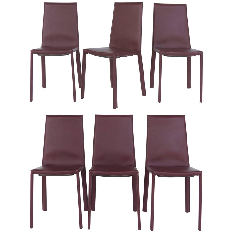 Arrben of Italy Leather Clad High Back Salinas Two Dining Chairs, Set of Six For Sale