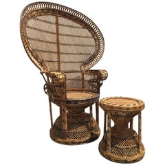 Iconic Indian Rattan Two-Color Emmanuel Peacock Chair & Garden Seat, Restored