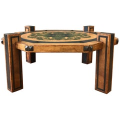 Arts & Crafts Leather Coffee Table in the Manner of Maitland-Smith