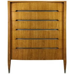 Minimalist Six-Drawer Highboy with Concealed Inset Steel Drawers