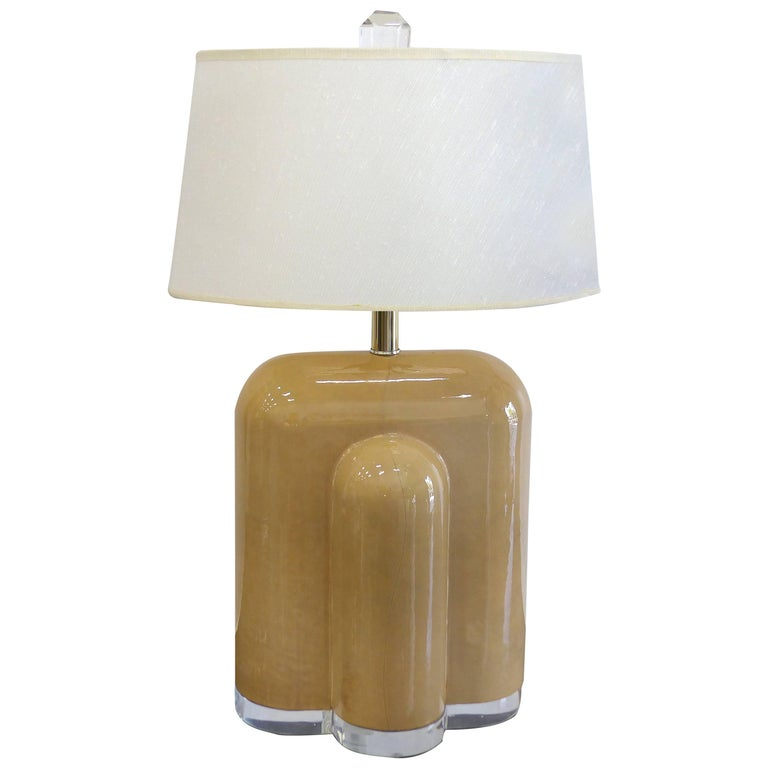 Lacquered Goat Skin and Lucite Mid-Century Modern Table Lamp