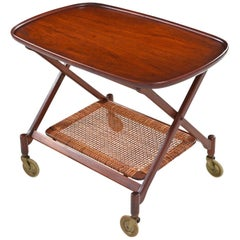 Poul Hundevad for Vamdrup Teak Folding Bar Cart with Cane Bottom Shelf