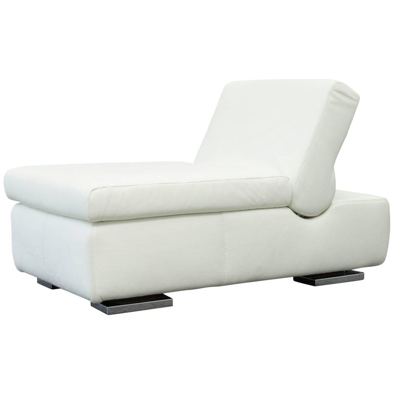 Musterring designer leather footstool white sofa couch for Musterring sofa
