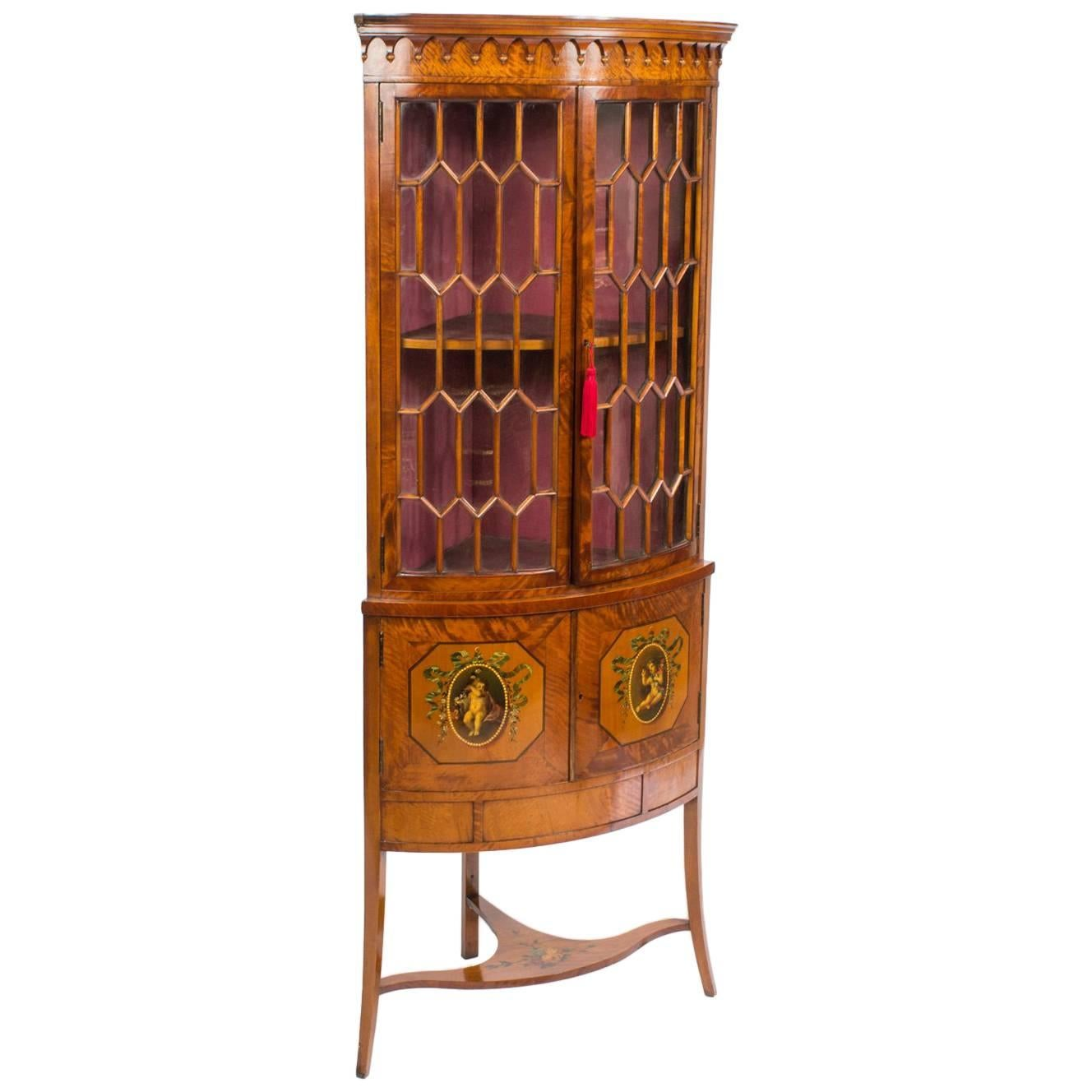 antique english edwardian satinwood corner display cabinet circa