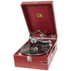 Antique Rare Red HMV Portable Gramophone Mod 102, 1935