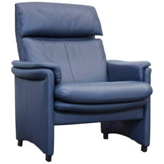Erpo Designer Leather Relax Chair Blue Function One-Seat Modern