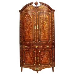 Large Neoclassical Flower Marquetry Bowfront Corner Cupboard