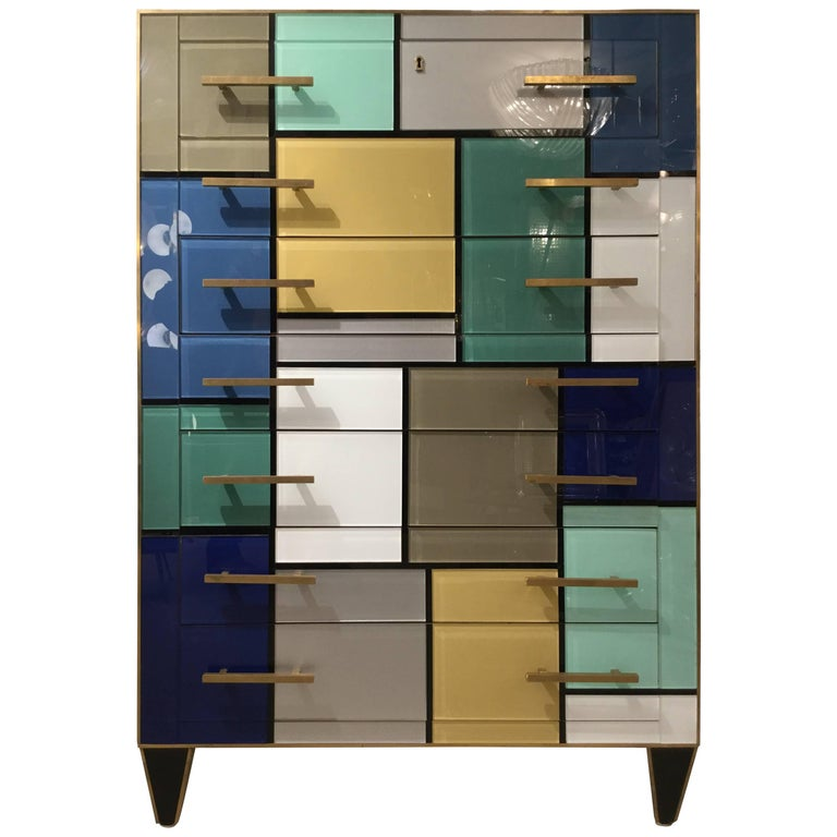 Italian Venitian 7 Day Chest of Drawers Style of Mondrian, circa 1970