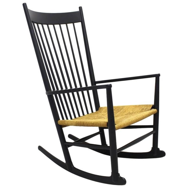 black rocking chair j 16 by hans wegner denmark 1944 for. Black Bedroom Furniture Sets. Home Design Ideas