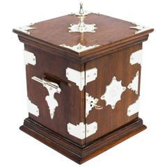 19th Century Victorian Oak with Silver Plated Mounts Tabletop Cabinet