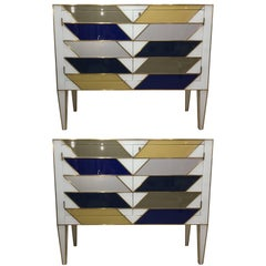Pair of Italian Side Cabinets in Colored Glass and Brass Style of Gio Ponti