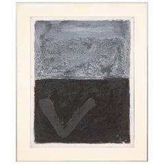 Adja Yunkers Oil Painting Abstract Expressionist Black Grey Signed, USA, 1970s