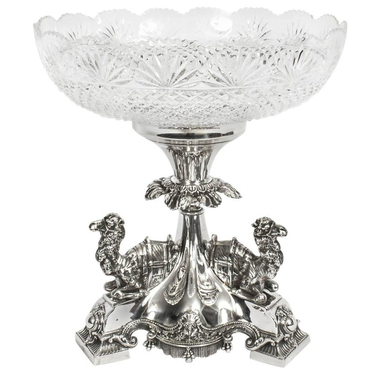 19th Century Victorian Silver Plate Camels Centrepiece Cut Crystal