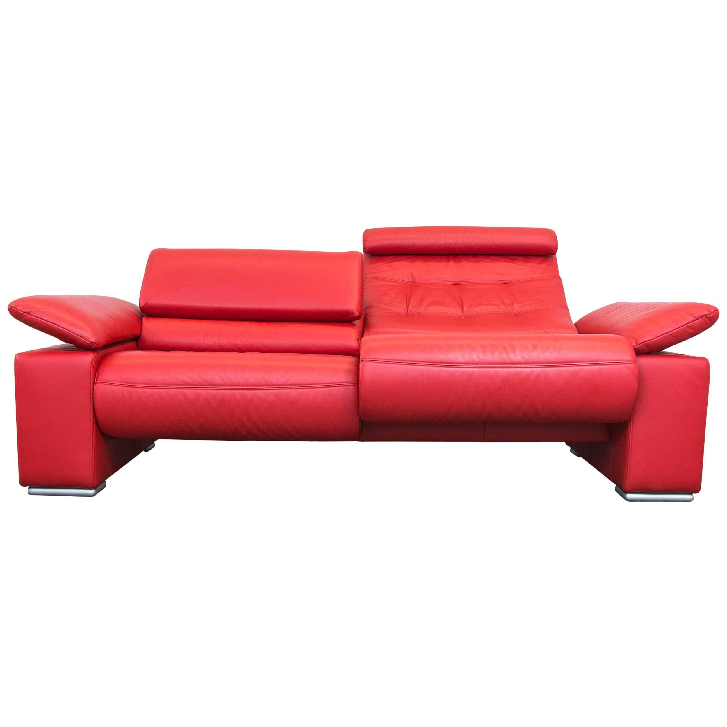 Corona Savena Designer Sofa Red Leather Two Seat Couch Function Modern