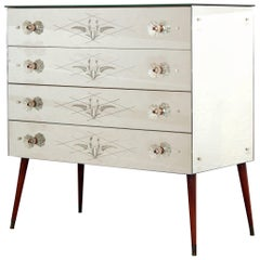 French Mid-Century Mirrored Chest of Drawers Fine Engraving Sputnik Legs