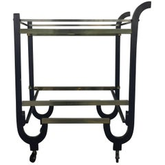 Donald Deskey Clever Art Deco Bar Cart That Ingeniously Folds Away
