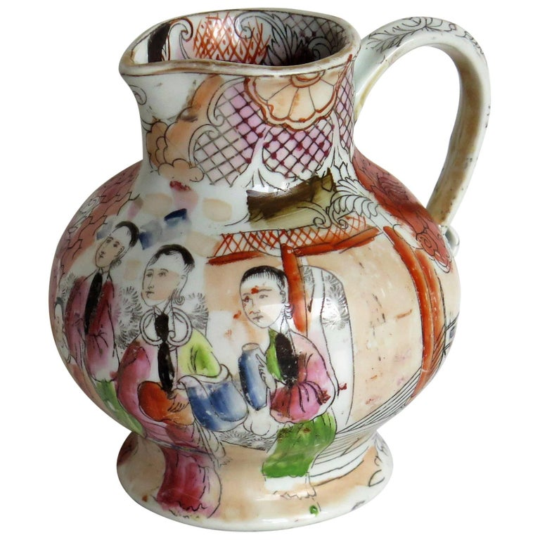 Rare shape Mason's Ironstone Jug Red Scale Conversation Pattern, circa 1820 For Sale