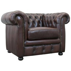 Möbel Art Chesterfield Leather Chair Brown One-Seat Vintage Retro