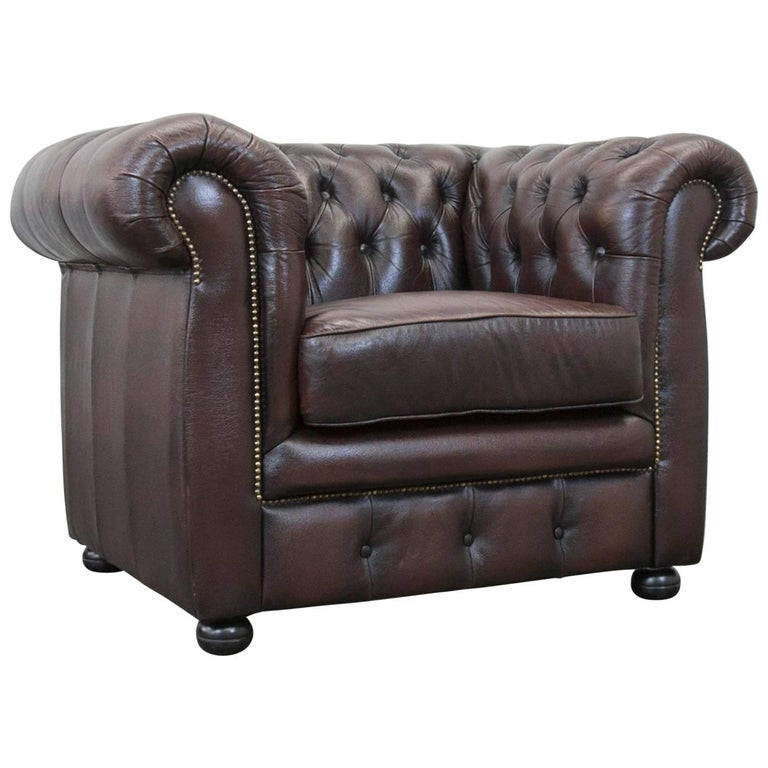 m bel art chesterfield leather chair brown one seat vintage retro for sale at 1stdibs. Black Bedroom Furniture Sets. Home Design Ideas