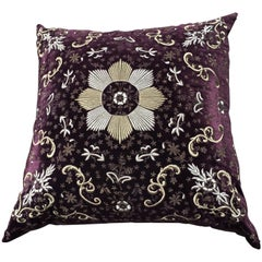 Seat Cushion Moroccan Style Hand Embroidery Antique Gold and Silver Thread