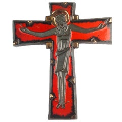 Large Wall Cross, Red, Black, Gold Painted Ceramic, Handmade in Belgium, 1950s
