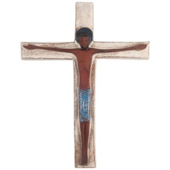 Large Wall Cross, White, Blue, Black Painted Ceramic, Handmade in Belgium, 1960s
