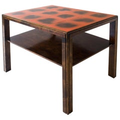 Nordiska Kompaniet, Early Swedish Modernist Tile-Top and Ebonized Birch Table
