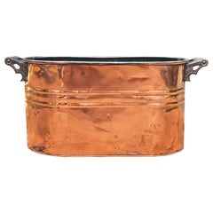 Large French Copper Beverage Cooler or Log Carrier, circa 1930