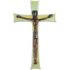 Large Wall Cross, Green, Brown Painted Ceramic, Handmade in Belgium, 1960s