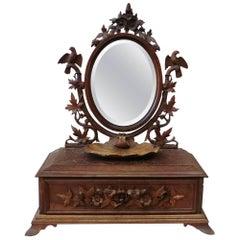 19th Black Forest Bird Vanity Mirror