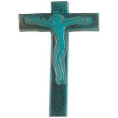 Wall Cross, Blue Painted Ceramic, Handmade in Belgium, 1970s