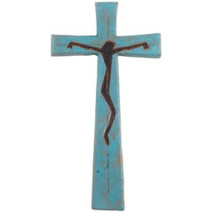 Wall Cross, Blue, Black, Brown Painted Ceramic, Handmade in Belgium, 1970s