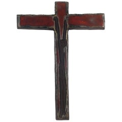 Wall Cross, Red, Black Painted Ceramic, Handmade in Belgium, 1960s