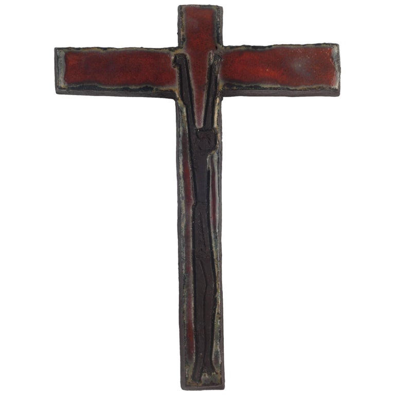 Wall Cross, Red, Black Painted Ceramic, Handmade in Belgium, 1960s