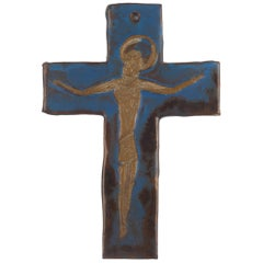 Wall Cross, Blue, Black, Brown Painted Ceramic, Handmade in Belgium, 1960s