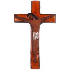 Wall Cross, Orange, Brown and White Painted Ceramic, Handmade in Belgium, 1970s