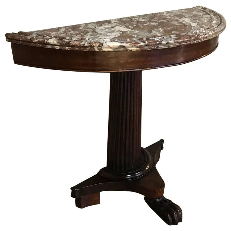 19th Century Louis Philippe Period Demilune Marble-Top Mahogany Console