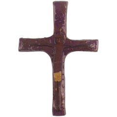 Wall Cross, Purple, Brown and Yellow Painted Ceramic, Handmade in Belgium, 1970s