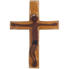 Wall Cross, Yellow Brown Painted Ceramic, Handmade in Belgium, 1970s