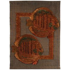 Mid-Century Weave Woven Wall Fish Tapestry