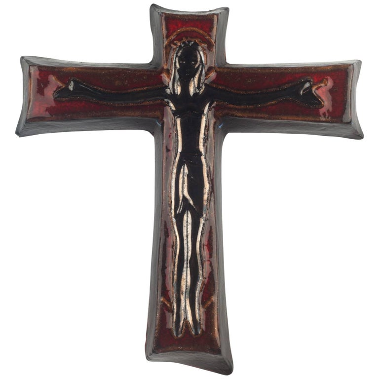 Wall Cross, Dark Red and Black Painted Ceramic, Handmade in Belgium, 1970s