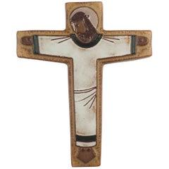 Wall Cross, White, Beige Painted Ceramic Handmade in Belgium, 1960s