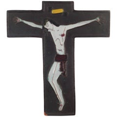 Wall Cross, Black, White Painted Ceramic, Handmade in Belgium, 1960s