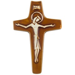 Wall Cross, Brown, White Painted Ceramic, Handmade in Belgium, 1960s