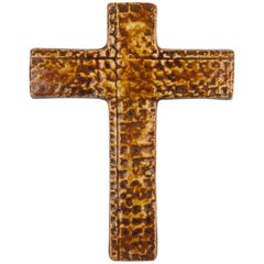 Wall Cross, Brown, Beige Painted Ceramic, Handmade in Belgium, 1960s