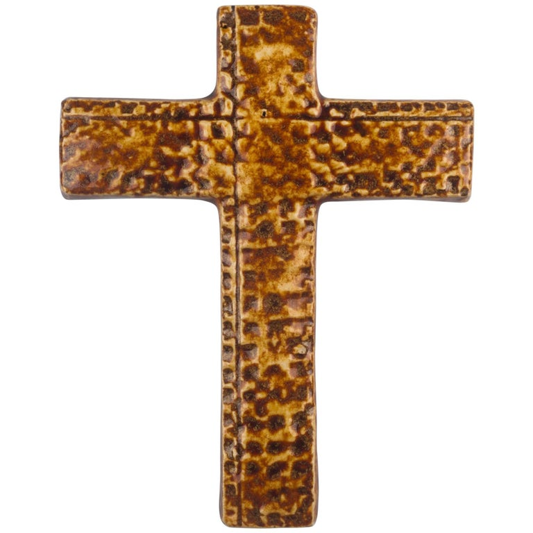 Wall Cross, Brown, Beige Painted Ceramic, Handmade in Belgium, 1960s