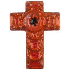 Wall Cross, Orange, Black Painted Ceramic, Handmade in Belgium, 1970s