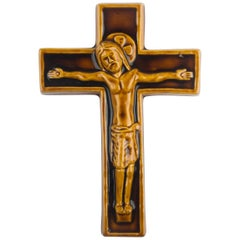 Wall Cross, Brown, Beige, Yellow Painted Ceramic, Handmade in Belgium, 1960s