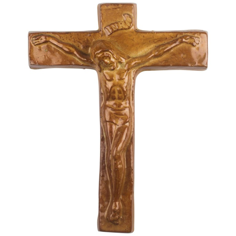 Wall Cross, Beige, Brown Painted Ceramic, Handmade in Belgium, 1960s