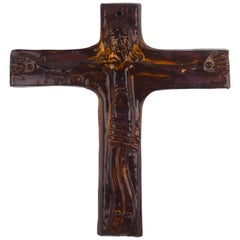 Wall Cross, Brown, Yellow Painted Ceramic, Handmade in Belgium, 1960s